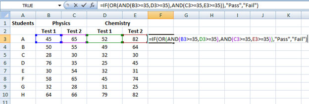 Combining IF, OR and AND functions in Excel