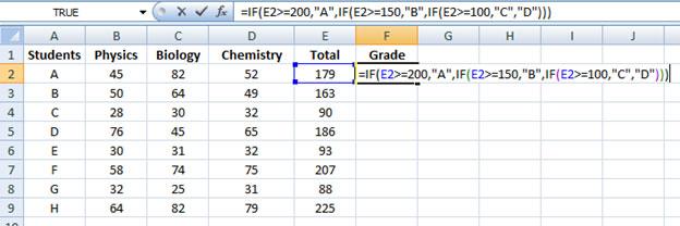 Nestedif formula in excel