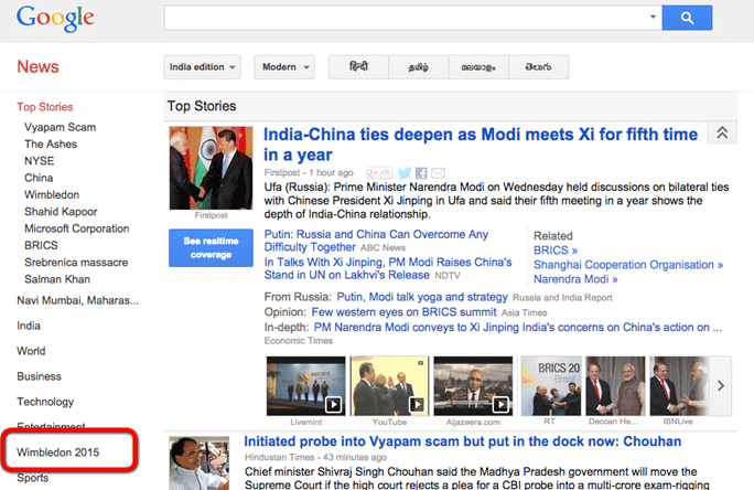 Google's news section