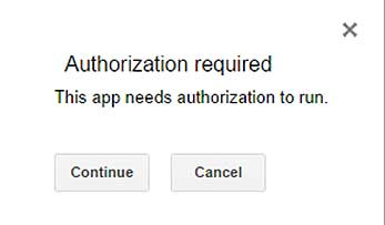 Authorization window when you run the Google script