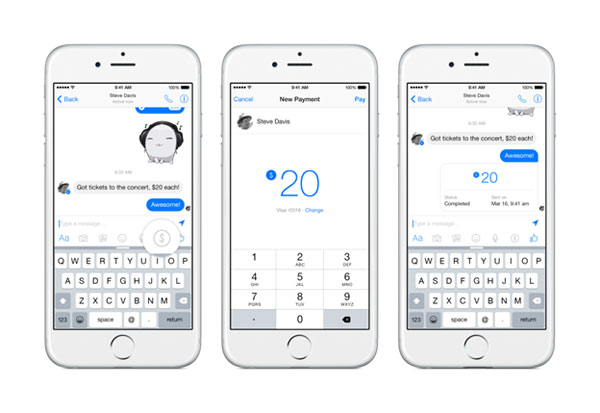 Sending money through Facebook messenger