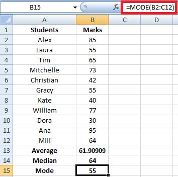 calculating mode in excel