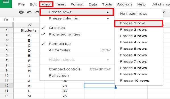 Freeze rows in Google spreadsheets
