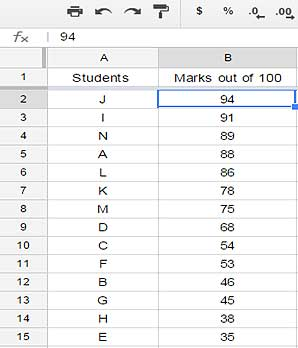 Sorting data in Google spreadsheet
