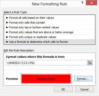 creating rule in excel conditional formatting